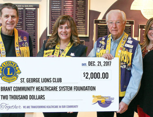 St. George Lions Club celebrate the season with a donation in support of patient equipment